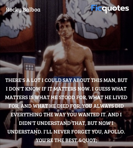There's a lot I could say about this man, but I don't know if it matters now. I guess what matters is what he stood for, what he lived for, and what he died for. You always did everything the way you wanted it. And I didn't understand that, but now I understand. I'll never forget you, Apollo. You're the best.