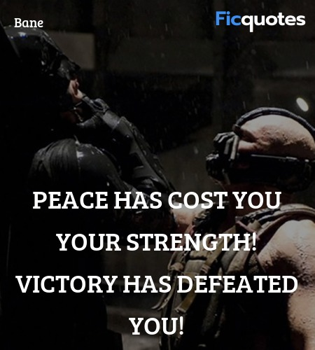Peace has cost you your strength! Victory has defeated you! image