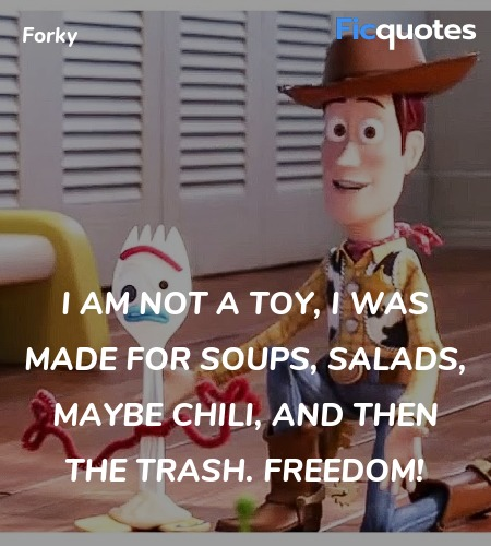 I am not a toy, I was made for soups, salads, ... quote image