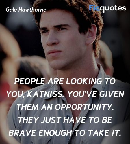 People are looking to you, Katniss. You've given them an opportunity. They just have to be brave enough to take it. image