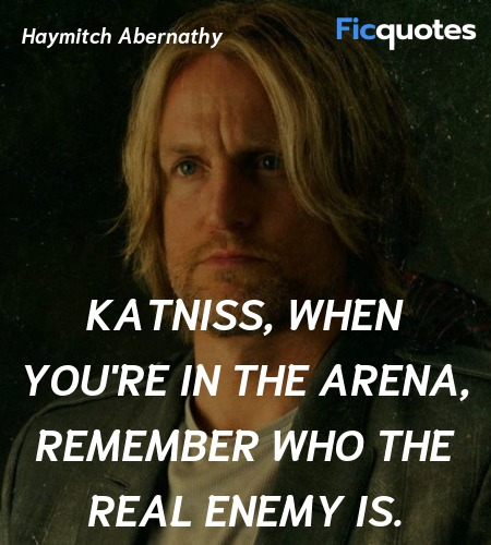 Katniss, when you're in the arena, remember who ... quote image