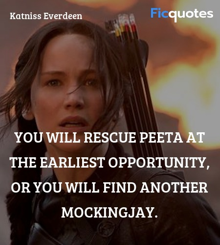 You will rescue Peeta at the earliest opportunity, or you will find another Mockingjay. image