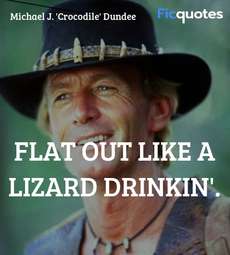 Flat out like a lizard drinkin quote image