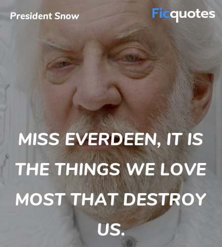 Miss Everdeen, it is the things we love most that destroy us. image