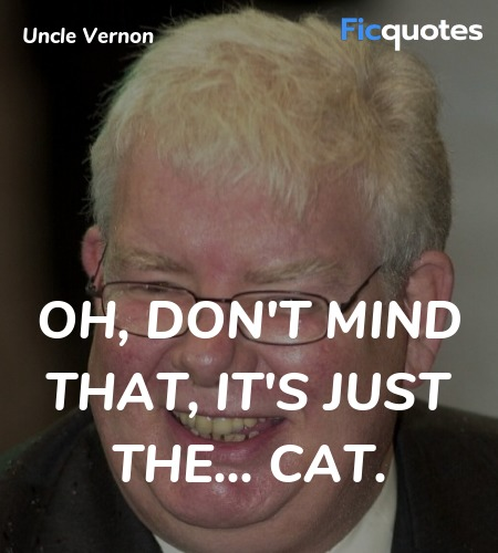 Oh, don't mind that, it's just the... cat... quote image